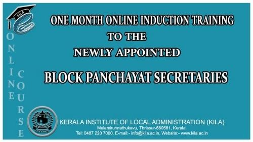 One month induction training to the newly appointed Blockpanchayat secretaries